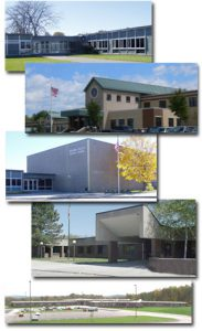 photo of all 5 school district buildings