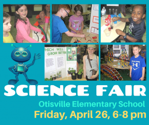Promo piece for science fair with date, place, and featuring photos of students at a past fair