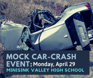 mock car crash sign