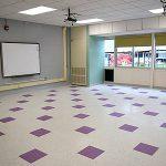 New classroom tile floor