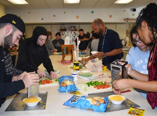 Students working on cooking project