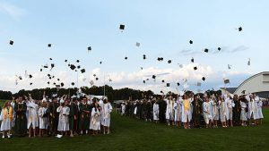 Class of 2019 throwing caps in the air