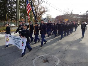 JROTC members marching in parade