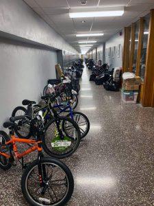 hallway fill of bikes