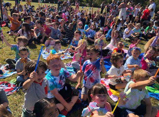 Otisville kids with pinwheels