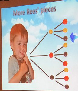 Powerpoint display of little boy with candies