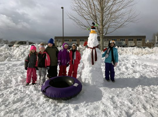 3rd graders playing in the snow