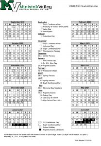 2020-21 school district calendar