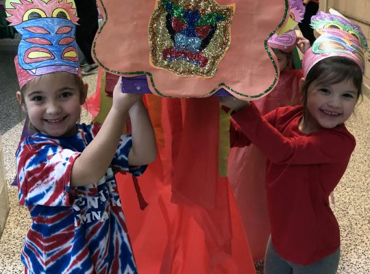 kindergarteners in a Chinese New Year parade