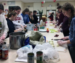 students making homemade soup