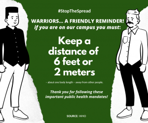 A poster reminding people about the 6 feet guidelines for social distancing