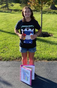 FBLA member with school supplies