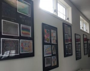 artwork hanging on walls at Otisville Post office