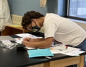 student in mitosis lab