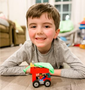Boy with Lego balloon car