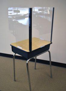 Sample partition on desk