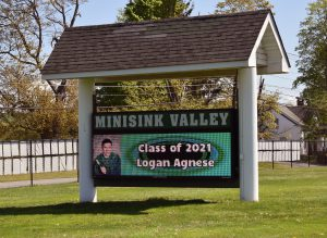 Student name and image on Route 6 marquee sign