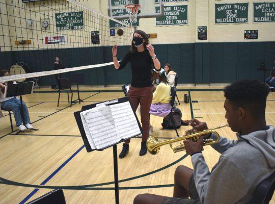 students at band