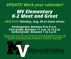 MV Elementary School K-2 meet and greet flyer