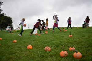 students in pumpkin patch